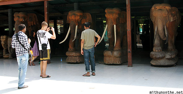 Wooden elephant sculpture handicrafts Thailand