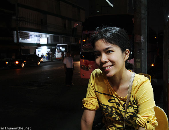 Aimee in front of Autobus station Manila