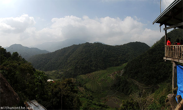 Banaue rice terrace farm hill hanging house view panorama