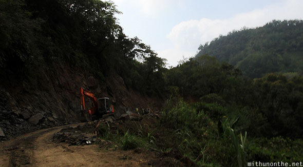 Banaue road construction Luzon hill Philippines