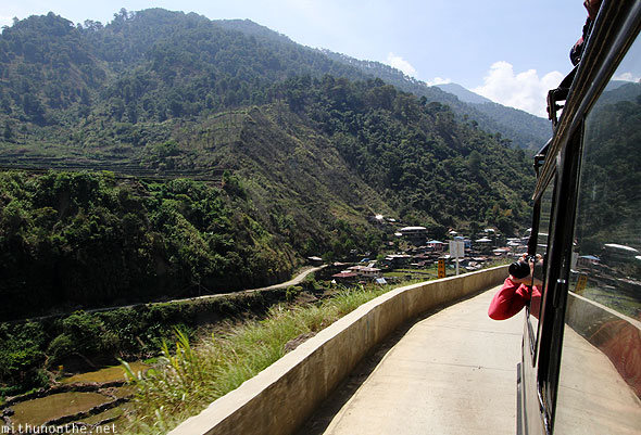 Banaue to Bontoc jeepney ride taking photograph