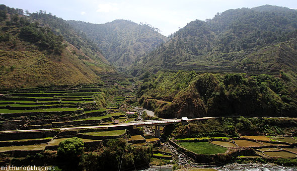 Banaue to Bontoc rice terrace farms bridge