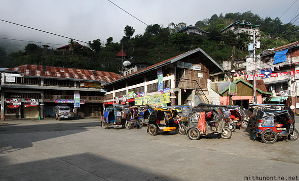 Banaue town motor tricycles parked