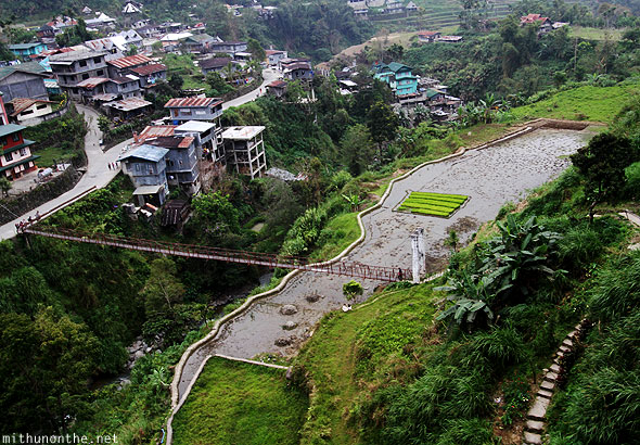 Banaue town rope bridge Philippines
