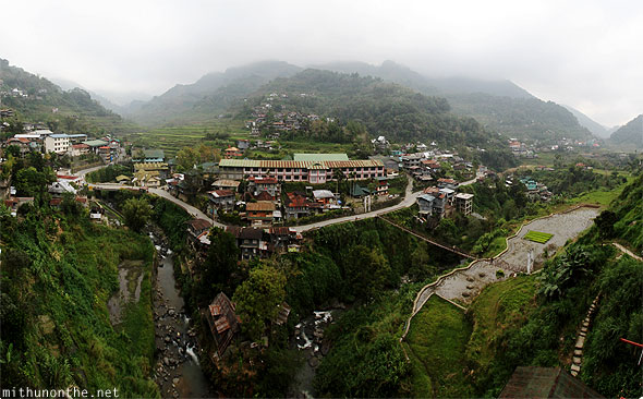 Banaue town view from Greenview Lodge panorama