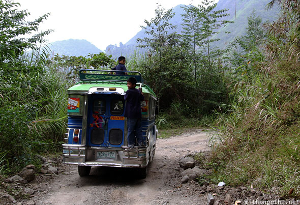 Batad jeepney kids hanging on Banaue