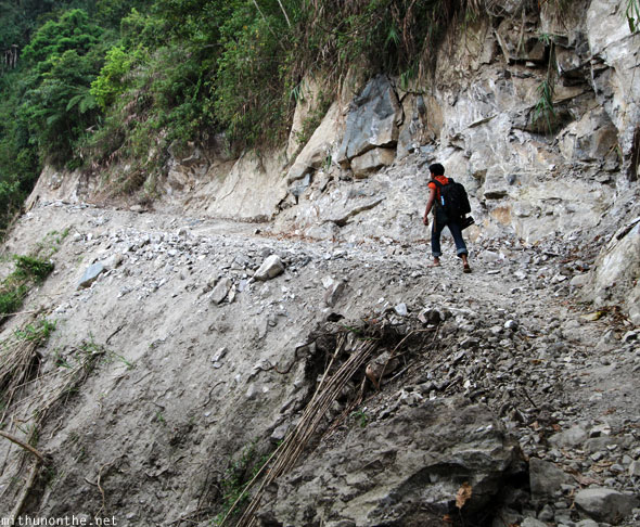 Batad trek landslide damaged path