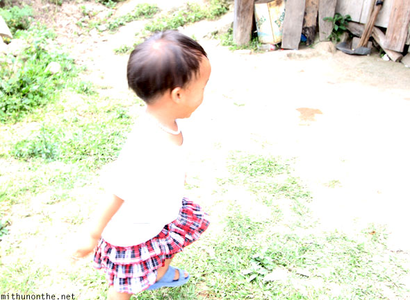 Batad village little girl running Banaue
