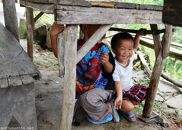 Batad village small children playing Philippines