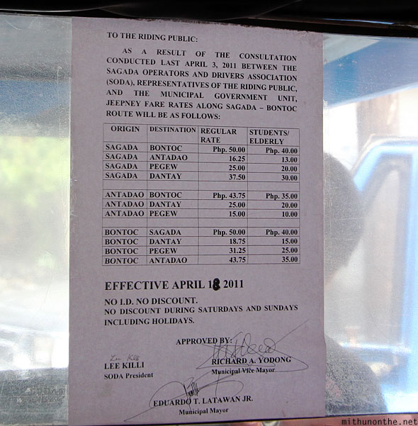 Bontoc to Sagada jeepney rates