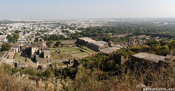 Golkonda Fort bottom half panorama Hyderabad India