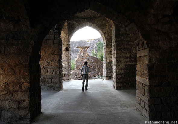 Golconda fort palace ruins arches Hyderabad