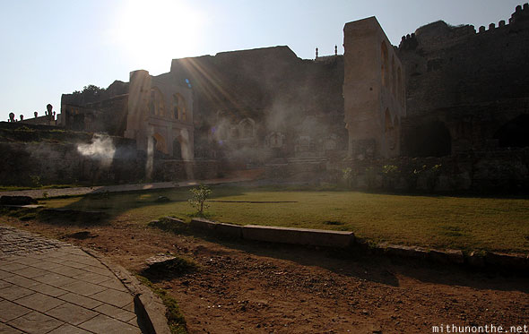 Golconda fort royal palace ruins sunlight flare Hyderabad