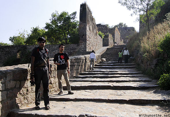 Golconda Fort steps up to prayer hall Hyderabad India