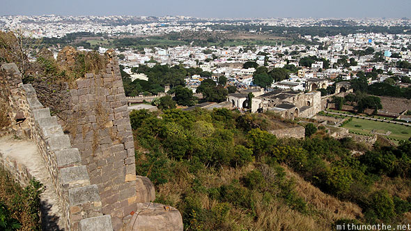 Golkonda fort citadel view down Hyderabad