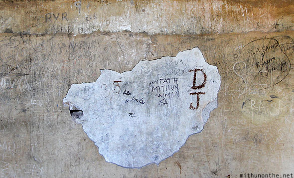 Golkonda fort citadel wall writing damage Hyderabad