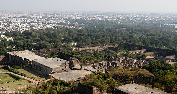 Golkonda fort view ruins Hyderabad