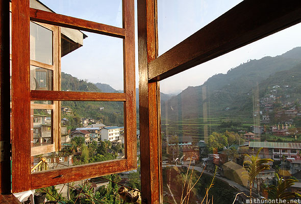 Greenview lodge restaurant window view Banaue rice terraces