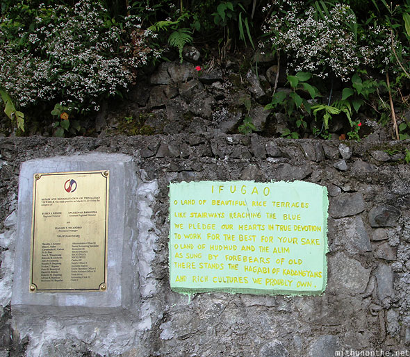 Ifugao rice terraces placard description Banaue
