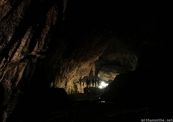 Inside Sumaguing cave darkness tourists