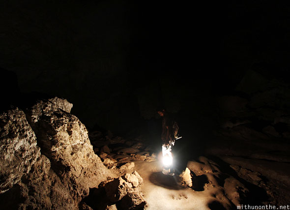 Inside Sumaguing cave guiding light