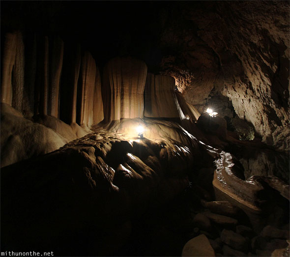 Inside Sumaguing cave limestone rock formations panorama