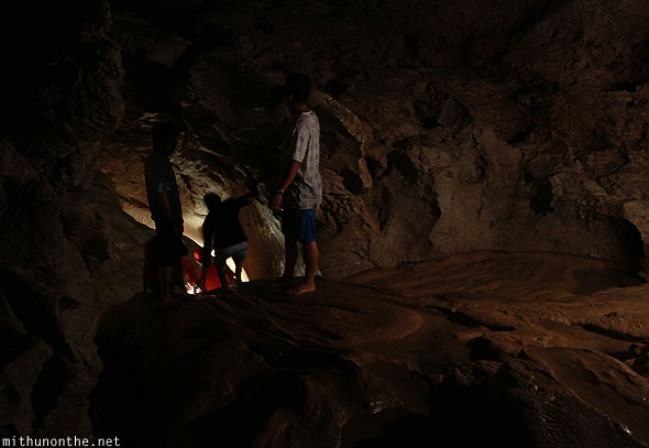 Inside sumaguing cave limestone rock other tourists
