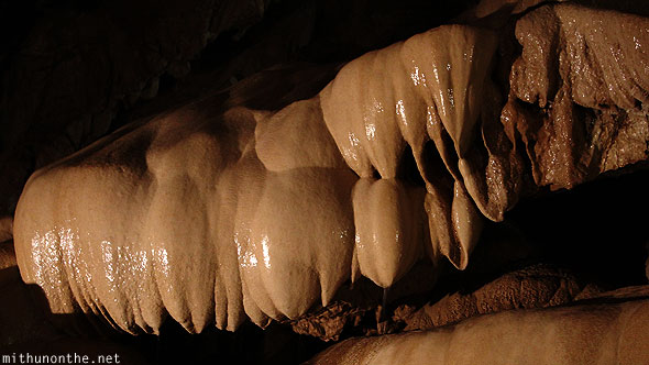 Inside Sumaguing cave limestone sharp tooth stalactite rocks pointed