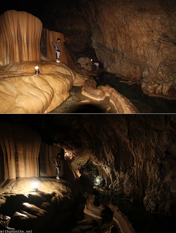 Inside Sumaguing cave limestone rocks with flash and without