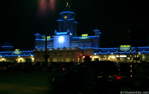 Kacheguda railway station at night Hyderabad India