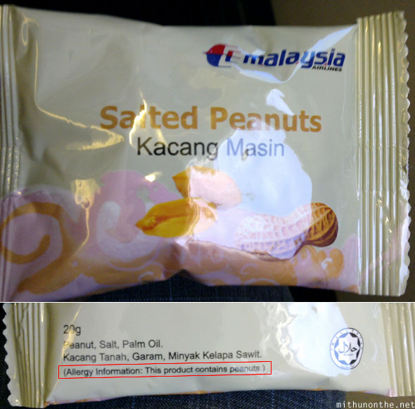 Malaysia Airlines salted peanuts allergy information