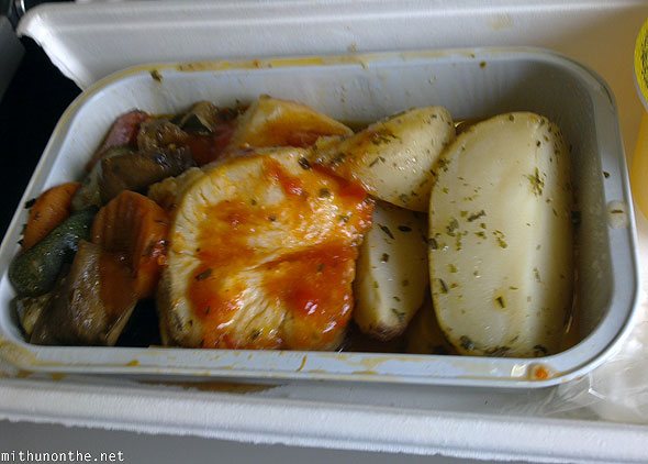 Malaysia Airlines seafood meal Manila flight