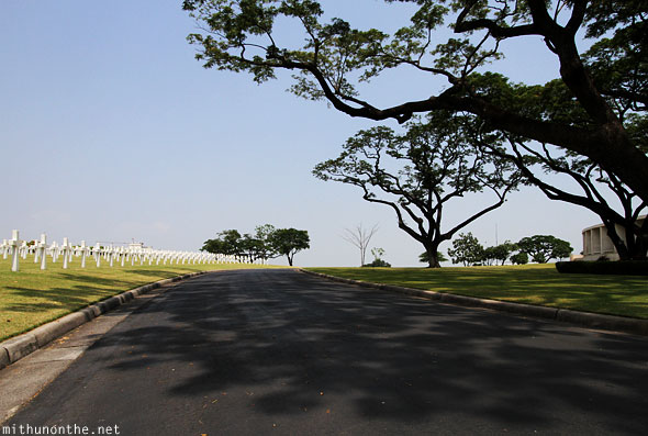 Manila American War Cemetary War Memorial tree shadow