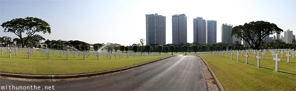 Manila American war cemetery memorial BGC buildings panorama