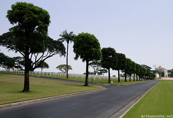 Manila American War Cemetery Memorial left trees