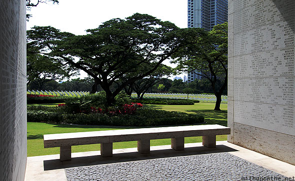 Manila American war cemetery memorial plaza bench