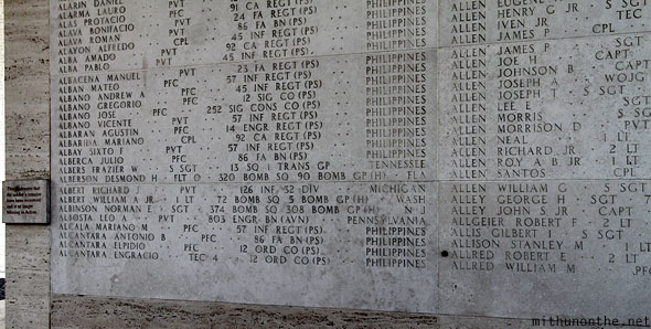 Manila American war cemetery memorial plaza Filipino soldiers names