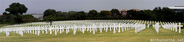 Manila American War Cemetery war memorial white tombstones wide angle panorama