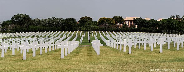 Manila American War Cemetery War Memorial white tombstones wide panorama