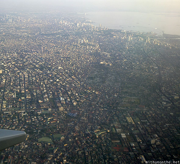 Manila city evening aerial photograph