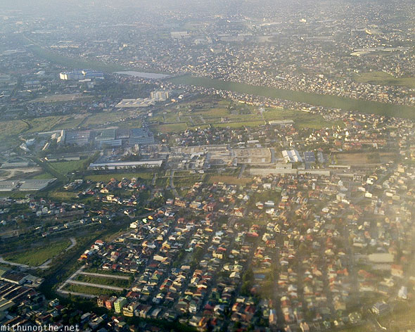 Manila city from plane aerial photograph
