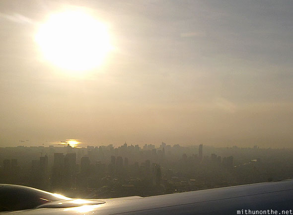 Manila sunset from plane Philippines