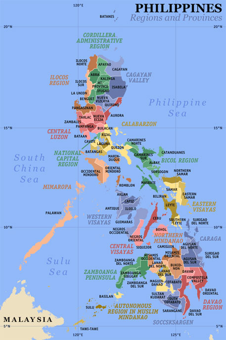 Philippines country regions provinces map