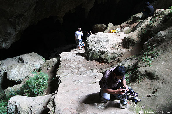 Preparing to enter Sumaguing cave with guide Sagada