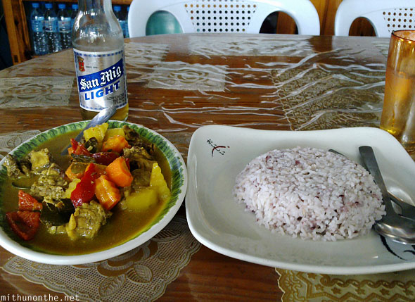 Sagada chicken curry rice San Mig beer lunch