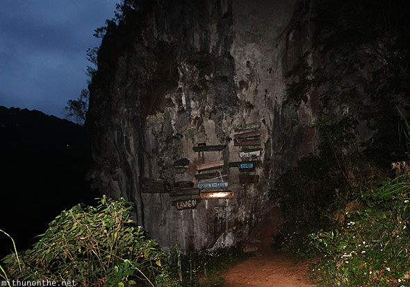 Sagada hanging coffins Echo valley night shot flash