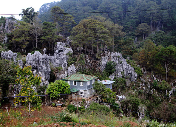 Sagada house near limestone rocks