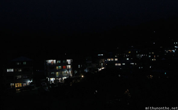Sagada village homes at night dark