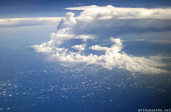 South China sea huge cloud over islands aerial photography