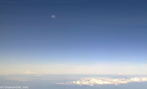 South China sea moon afternoon aerial photograph